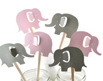 12 Pink Elephant Cupcake Toppers / Zoo Party / Elephant Baby Shower / Pink Elephant Party Decor / Pink Elephant Birthday Party /