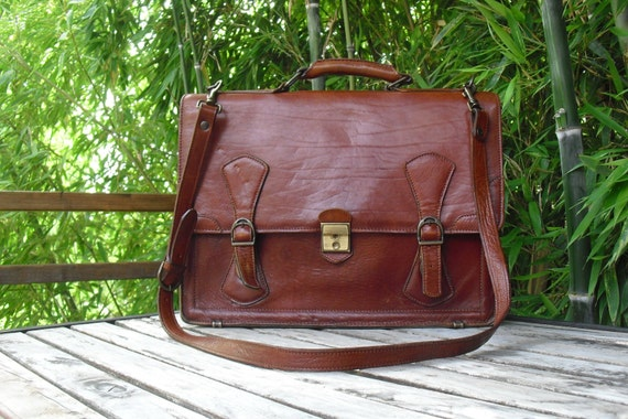 Renwick Vintage Leather Messenger Briefcase By