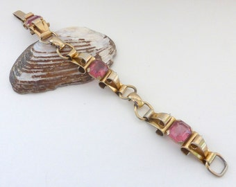Vintage 1950's Coro Deco Gold Flourish Link Bracelet with Pink Emerald Cut Glass Gems
