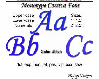 Download Embroidery Alphabet: Monotype Corsiva Font.