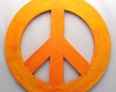 Orange Peace Sign Painting Teen decor