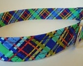 "Dog Collar - Blue Plaid - Navy, Blue, Green, Yellow and Orange -""Trevor"" - NO EXTRA CHARGE for colored buckles"