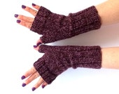 SALE - 50%OFF. Knit Fingerless Gloves. Knitted Fingerless Mittens. Dark Violet and Lavender Wrist Warmers. Hand Knit Gloves. Knitted Mittens