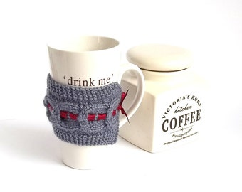 SALE - 30%OFF. Gray Knit Coffee Cup Cozy. Knitted Mug Cozy. Hand Knit Tea Cup Cosy.