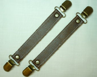 Faux Leather Steampunk Skirt Suspenders / Adjusters/Lifters, Antique Brass Clips