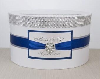 Wedding Card box / Card holder / Wedding money box - blue - personalized