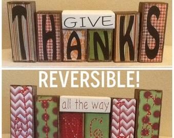 Reversible Give Thanks/Jingle all the way block set