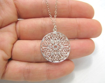 Silver necklace,  Filigree necklace, silver Flower necklace, delicate simple necklace silver, sterling silver, spring jewelry