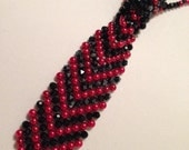 Black and Fire Red Beaded Necktie