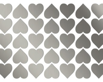Wedding heart stickers 35pc 3/4 inch Small silver hearts Silver heart stickers Small heart labels Wedding decorations