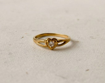 Heart Cut  10k ring,  CZ   Yellow Gold,  Signed AAJ,  Size 4