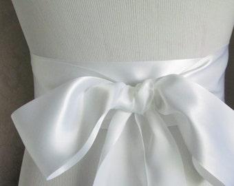 White Satin Ribbon Sash / Ribbon Sash / Satin Bridal Sash /  bridesmaid Sash / White