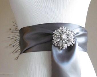 Satin Ribbon Sash / Ribbon Sash / Satin Bridal Sash /  Bridesmaid Sash With Brooch