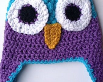 Crochet Baby Hat, Owl Baby Clothes, Baby Earflap Hat, Baby Animal Beanie
