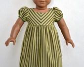 American Girl 18 Inch Doll Dress Historical Regency Era Empire Caroline - Black and Pale Green