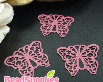 CH-ME-10136E- Color enameled,  Filigree butterfly computer-cut plate, maroon, 4 pcs