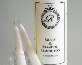 Swarovski Crystal Round Flourish Wedding Unity Candles