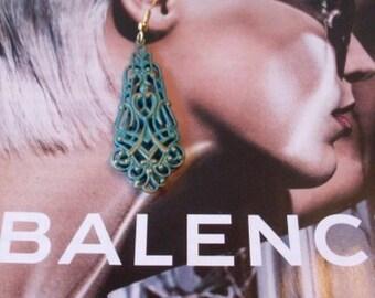 Long Dangle Handpainted Verdigris Earrings  Beaconhillcollect  We Ship Internationally