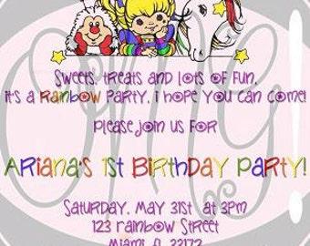 Rainbow Brite Birthday Invitation