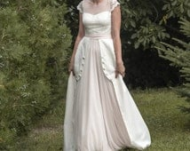 Matilda -> Wedding dress in chiffon, tulle, cotton and lace. Edwardian, vintage inspired. Romantic bridal gown.