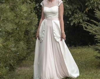 Matilda -> Wedding dress in chiffon, tulle, cotton and lace - Edwardian, vintage inspired. Romantic bridal gown.