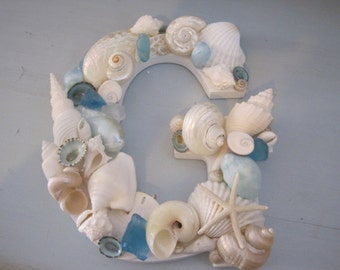Beach Decor Seashell Letter - Exotic Tropical Colored Shell Letter - Shell Initial - Wooden Letters - Beach Wedding - Gift -