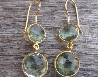 Silver Amethyst Dangle Earring- Green Amethyst Drop Earring- February Birthstone Earring- Double Green Earring- Two Stone Long Earring