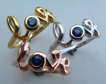 Cursive Love Sapphire Ring- Word Love Silver Ring- Blue Sapphire Statement Ring- Best friend Ring- September Birthstone Ring- Rose Gold Ring