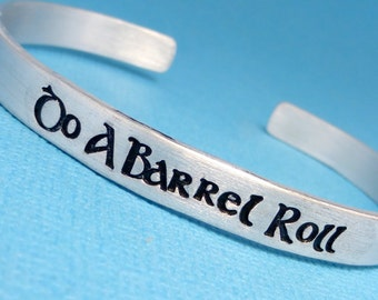 Starfox Inspired - Do A Barrel Roll - A Hand Stamped Bracelet in Aluminum or Sterling Silver