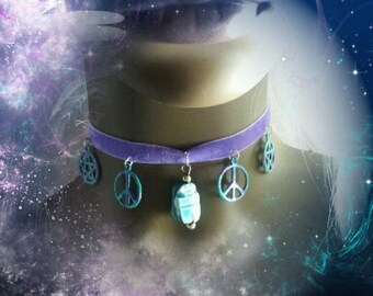 Pastel peace choker with a pentagram and Egyptian charm