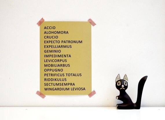 harry potter zauberspr che drucken von invisiblecrown auf etsy. Black Bedroom Furniture Sets. Home Design Ideas