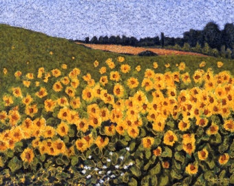 Sunflowers Fine Art Giclee Print, Tuscan Sunflower Field, Italy Sunflowers, Landscape, Pastel By Jan Maitland, Yellow, Blue Sky, 8 X 10