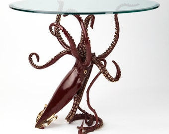 Bronze sculpture giant squid dining table by Kirk McGuire Sculpture