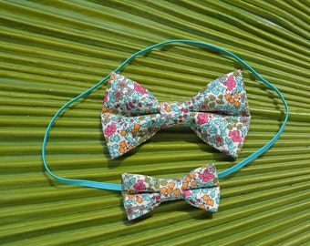 Liberty of London Mommy and Me Set in Turquoise // Big Sister/Little Sister Set // Newborn/Infant Bow Tie Headband  // Photo Prop