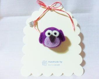 needle felted brooch - purple owl brooch - 100% Merino Wool - needle felted owl - felt owl brooch