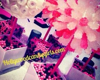 Pink, Black, White Rock Candy Lollipop Topiary Centerpiece Candy Land Party Decor Favor Arrangement Bouquet Wedding Candy Buffet
