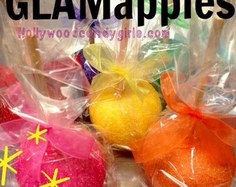 Rainbow GlamApples Custom Candy Chocolate Or Caramel Apples Personalized Party Favors Glitter Mitzvahs, Carnivals, Weddings