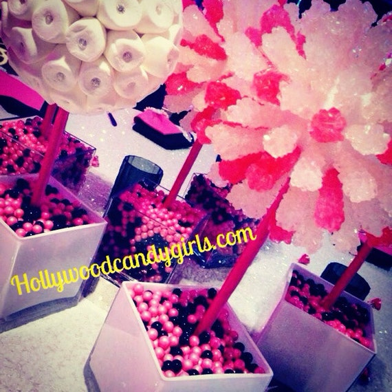 Pink black white rock candy lollipop topiary centerpiece