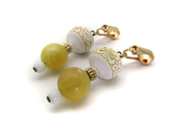 Vintage Clip On Earrings - Yellow Beads