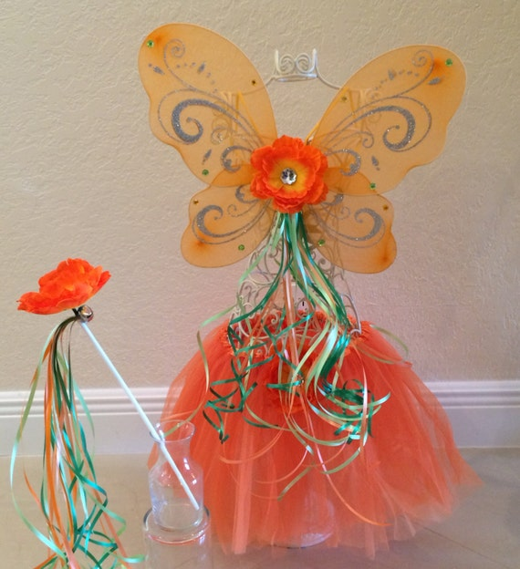 Items similar to Orange Tutu, Orange Fairy Wings, Orange ...