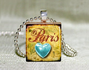 """Scrabble Jewelry - Blue Heart Paris - French Jewelry - Choose Pendant or Necklace - Charm - 18"""" Chain"""