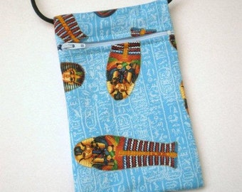 Pouch Zip Bag Egyptian theme Fabric.  Great for walkers, markets, travel. Small fabric Purse. Cell Phone Pouch.Tutankhamun sarcophagus.