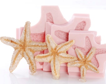 Starfish seashell silicone molds, set of 3 starfish resin, polymer clay, wax, soap, chocolate, mints, fondant, gumpaste moulds   (250)