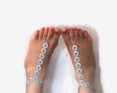 Barefoot Sandals , Gray crochet Barefoot Sandals, Crochet Anklet, Sexy Lace sandals,Beach,Wedding footwear,  Bridal Barefoot Sandles