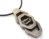 Futuristic Jewelry, Mens Necklace, Stainless Steel and Bronze Hex Nut Artifact Design Pendant