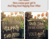 TWO SIDED Customized Here comes your Girl And they lived Happily  Painted rustic wood sign