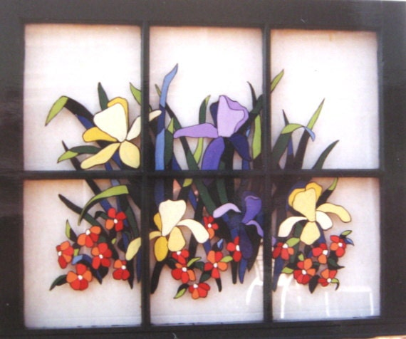Spring Flowers Lilies Painted Window Recycled Wood