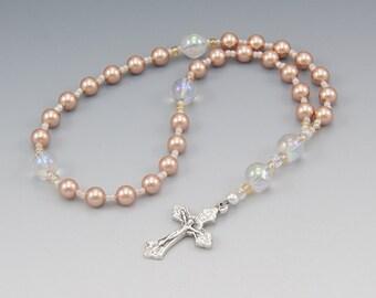 Anglican Rosary - Genuine Swarovski Rose Peach Pearls with Quartz Crystal - Christian Prayer Beads - Item # 790