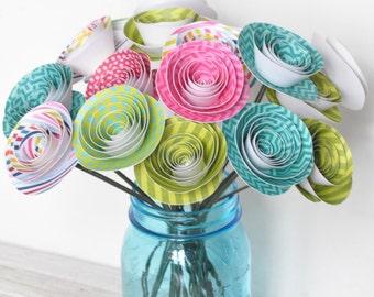 24 Neon Paper Flowers on Stems- Bouquet of Paper Flowers- Valentine's Bouquet