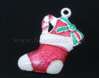 4 pieces Silver Plated Enamel Christmas Stocking Charms